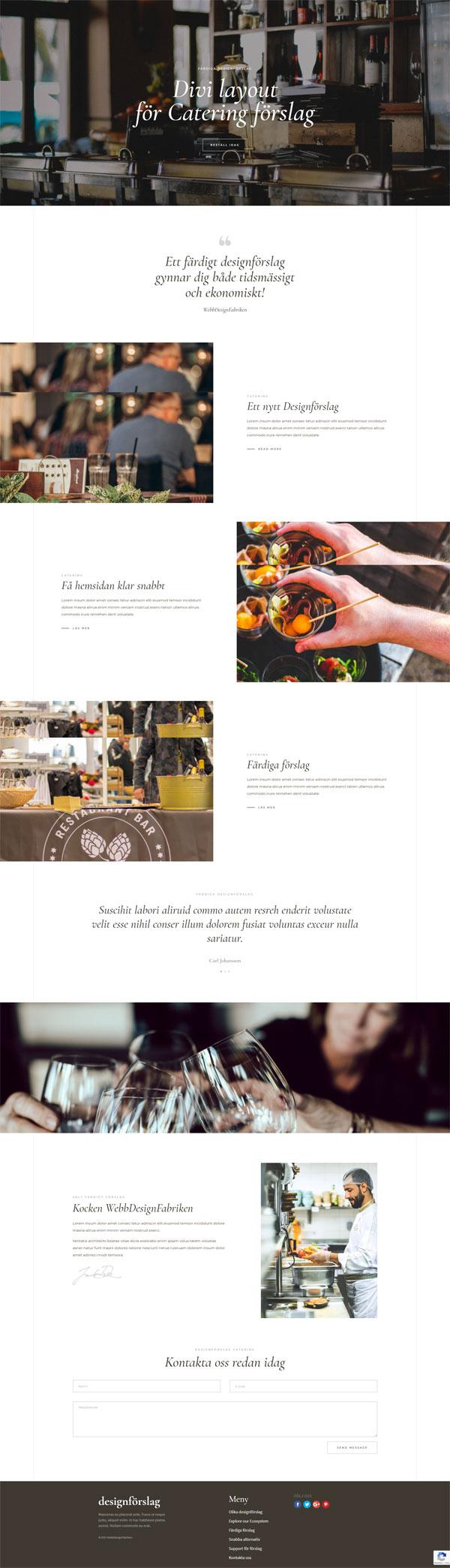 Färdigt designföslag för Cafe eller cateringfirma